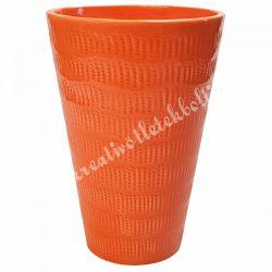 Kerámia váza, narancssárga, 13x19 cm
