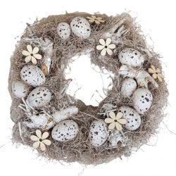 Szárazvirág koszorú, bézs tojásokkal, virágokkal, 32 cm