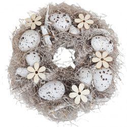Szárazvirág koszorú, bézs tojásokkal, virágokkal, 24 cm