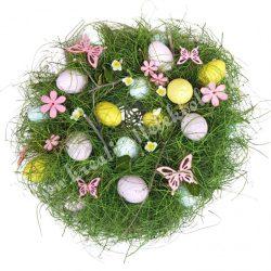 Szárazvirág koszorú, vegyes színű tojásokkal, rózsaszín pillangókkal, virágokkal, 27 cm