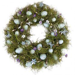 Szárazvirág koszorú, kék tojásokkal, virágokkal, 34 cm