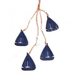 Akasztható dísz, fa vitorlás hajó, kék, 6,5x43 cm