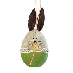 Fa tojásnyuszi, zöld, 7x14 cm