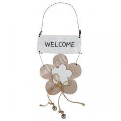 Virágos kopogtató welcome felirattal, 10x24 cm