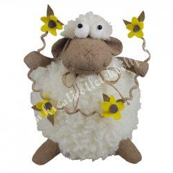 Textil bárány sárga virágfüzérrel, 30x32 cm