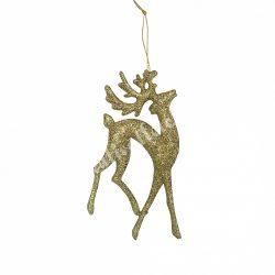 Akasztós, glitteres arany szarvas, 8x14,5 cm