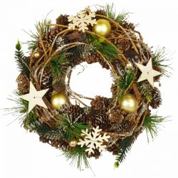 Akasztós dísz, tobozzal, vesszővel, fa csillaggal, hópehellyel 1., 24 cm