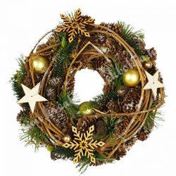 Akasztós dísz, tobozzal, vesszővel, fa csillaggal, hópehellyel 2., 24 cm