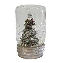 Hógömb karácsonyfával, 5x8,5 cm