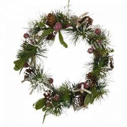 Akasztós dísz, havas fenyőágakkal, száraz termésekkel, 22 cm