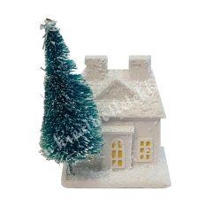 Házikó fenyőfával, 5,5x5 cm