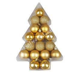 Karácsonyfadísz, gömb, arany, matt/fényes/csillámos, 17 db/doboz, 4 cm