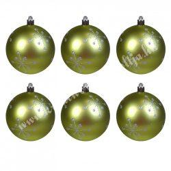 Karácsonyfadísz, gömb, oliva-ezüst, matt, 8 cm, 6 db/doboz