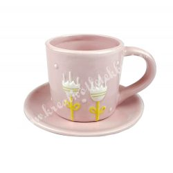 Kerámiacsésze alátéttel,tulipán mintával, rózsaszín