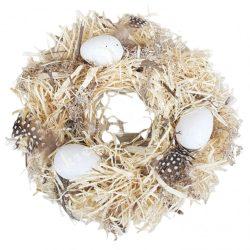 Szárazvirág koszorú, tojásokkal, madártollakkal, natúr, 25 cm