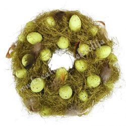Szizál koszorú, tojásokkal, madártollakkal, zöld, 24 cm