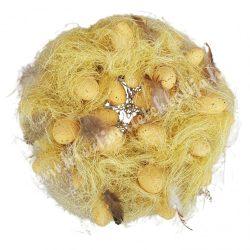Szizál koszorú, tojásokkal, madártollakkal, sárga, 24 cm