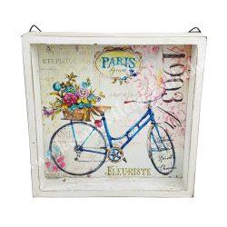 Akasztós fa kép, biciklivel, virágcsokorral, 20x20x3,5 cm