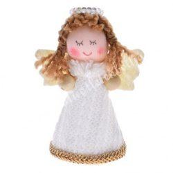 Textil angyal, csukott szemmel, 8x9,5 cm