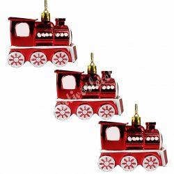 Karácsonyfadísz, piros  mozdony, 3 db/doboz