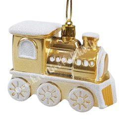 Karácsonyfadísz, arany mozdony, 9x7 cm