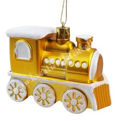 Karácsonyfadísz, sárgaarany mozdony, 9x7 cm
