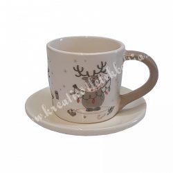 Kerámia csésze aljjal, rénszarvasokkal, 12x8 cm
