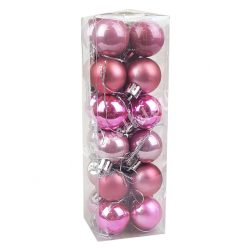 Karácsonyfadísz, gömb, vegyes rózsaszín, 3 cm, 24 db/doboz