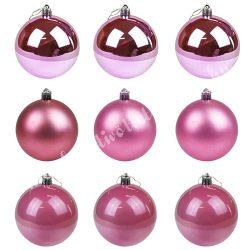 Karácsonyfadísz, gömb, pink-korall, 8 cm, 9 db/doboz