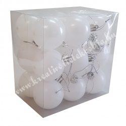 Karácsonyfa dísz, gömb, jeges fehér, matt, 5 cm, 18 db/doboz