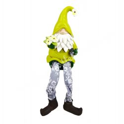 Lógó lábú, zöld sapkás manó, virággal, 6x17 cm