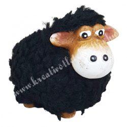 Bolyhos bárány, fekete, 8x7 cm