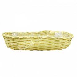 Vessző kosár, hosszúkás ovális, sárga, 59,5x9,5x20 cm