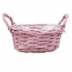 Vessző kosár, ovális, rózsaszín, 2 füllel, 34x21x15 cm