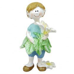 Polyresin gyerek, álló, virággal, 5x9,5 cm