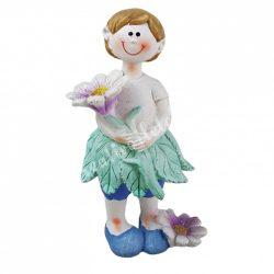 Polyresin kisfiú, álló, virággal,  6,5x13 cm