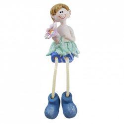 Lógó lábú kisfiú, virággal,  4x13 cm