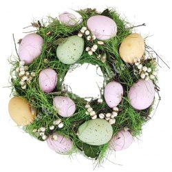Szárazvirág koszorú, vegyes színű tojásokkal, bogyókkal, 25 cm