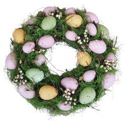 Szárazvirág koszorú, vegyes színű tojásokkal, bogyókkal, 33 cm