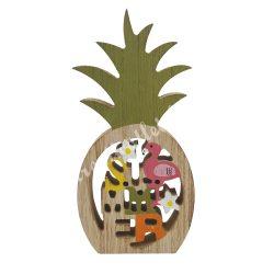 Fa ananász, flamingóval, Summer felirattal, 9,5x18 cm
