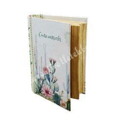 Kaktusz mintás könyv alakú doboz, 10x4 cm
