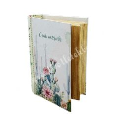 Kaktusz mintás könyv alakú doboz, 13,2x5 cm