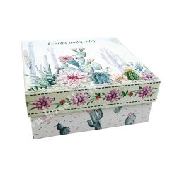 Kaktusz mintás szögletes doboz, 18x8 cm