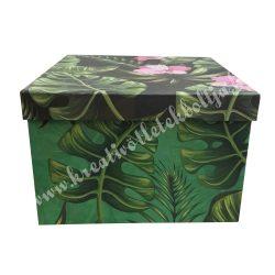 Papírdoboz, szögletes, nagy, trópusi mintával
