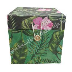 Papírdoboz gombos, kocka, trópusi mintával, 25x25 cm