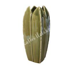 Kerámiaváza, leveles, 9x20 cm