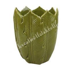 Kerámia kaspó, leveles, 12,5x16 cm
