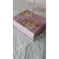 Doboz virágmintával, rózsaszín, nagy