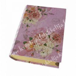 Rózsa mintás könyvdoboz, kicsi, rózsaszín