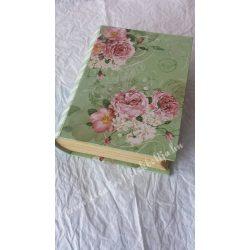 Rózsa mintás könyvdoboz, nagy, zöld